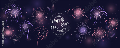 Fototapeta Lovely hand drawn fireworks and typography, New Years design, colorful template for cards, wallpaper, banner - vector design obraz