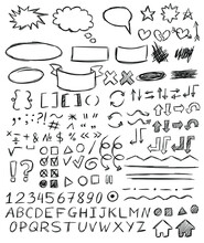 Handwriting Numbers, Letters, Punctuation Marks, Arrows, Highlighting, Underlining, Bubbles. Numbers, Letters, Punctuation Marks, Arrows, Highlighting, Underlining, Bubbles. Isolated. Handwriting Font