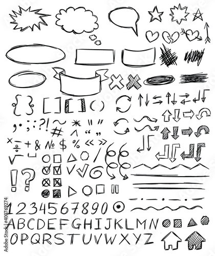 Fotografie, Obraz Handwriting numbers, letters, punctuation marks, arrows, highlighting, underlining, bubbles