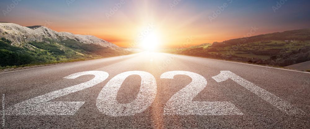 Fototapeta Happy New Year Background. Road to 2021.