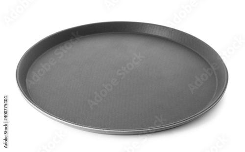 Fototapeta New black serving tray isolated on white obraz