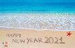 happy new year 2021 on the beach