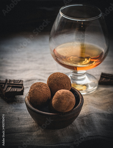 Canvas Print cognac and cigar