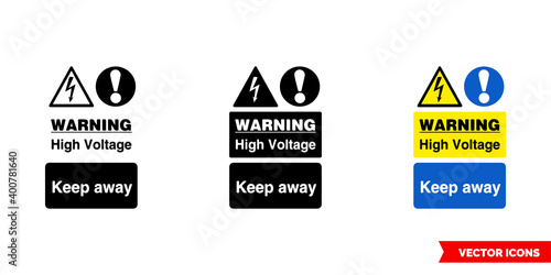 Fototapeta Warning high voltage keep away icon of 3 types color, black and white, outline. Isolated vector sign symbol. obraz na płótnie
