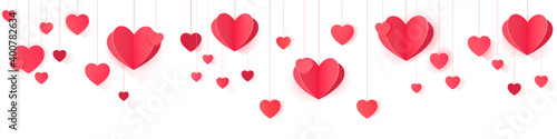 Obraz Seamless web banner of hanging paper hearts for website header decor and package design. - fototapety do salonu