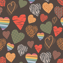 Vector Seamless Pattern With Hearts Of Different Textures. Background For The Design Of Postcards, Textiles, Paper, Stickers. Leopard, Brindle, Cage, Rainbow, Zebra, Giraffe.