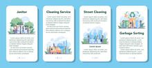Cleaning Service Or Company Mobile Application Banner Set.