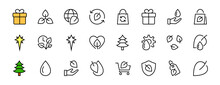ECOLOGY Vector Line Icons Set, Contains Icons Such As Photosynthesis, Environmental Protection, Eco-friendly Packaging, Growth Time, Editable Stroke, Keep Ecology