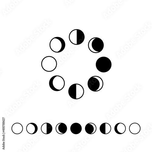 Valokuva Moon phases astronomy icon set Vector Illustration on the white background