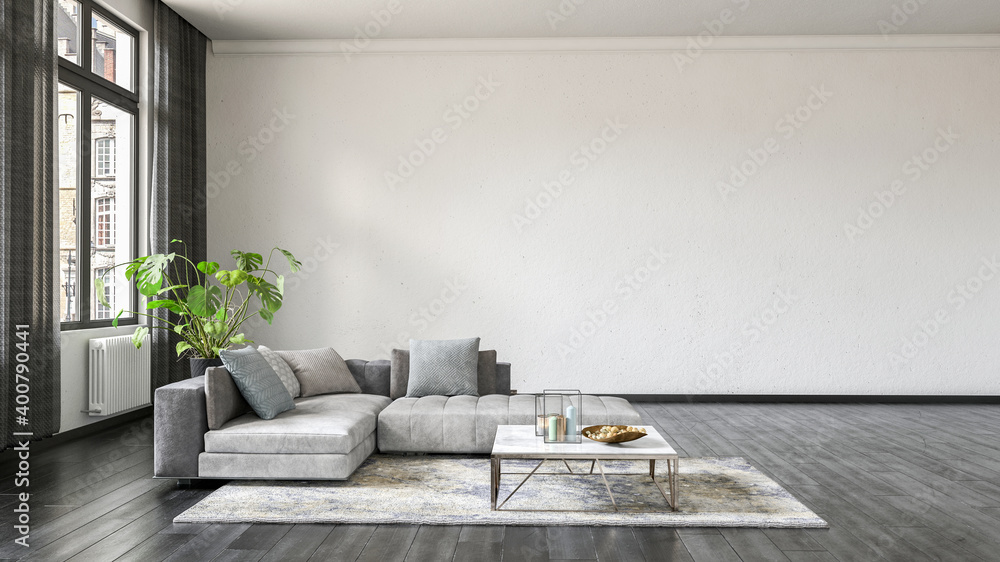 Fototapeta Modern living room interior with white wall.