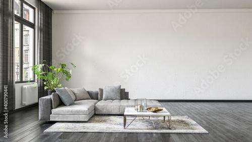 Fototapeta Modern living room interior with white wall. obraz