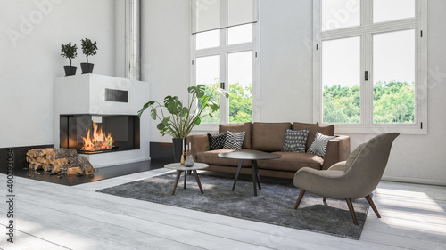 Modern white living room with fireplace #400793064