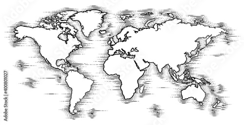 Obraz A world map in a vintage woodcut engraved style - fototapety do salonu