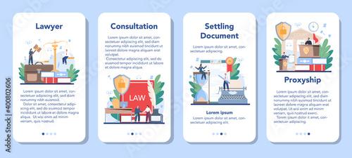 Canvas Print Professional lawyer mobile application banner set