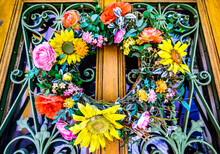 Old Wreath At A Door