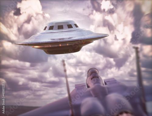 Obraz na plátne Supersonic airplane chasing UFO
