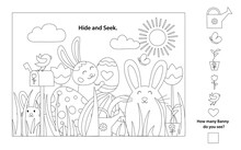 Easter Outline Black And White Vector Coloring Pages Printable And Worksheet. Easter Activities For Kids, Easter Party, Easter Games.