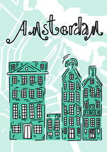 Poster With Traditional European Houses. Doodle Illustration. Greetings From Amsterdam. Amsterdam Vector Elements Set. Travel And Tourism Concept. Travel Poster, Postcard And Advertising Design.