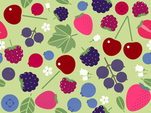 Seamless Pattern With Strawberries, Blueberries, Blackberries, Raspberries, Cherries And Black Currants. Pattern For Fabric, Wrapping Paper, Wall Paper.
