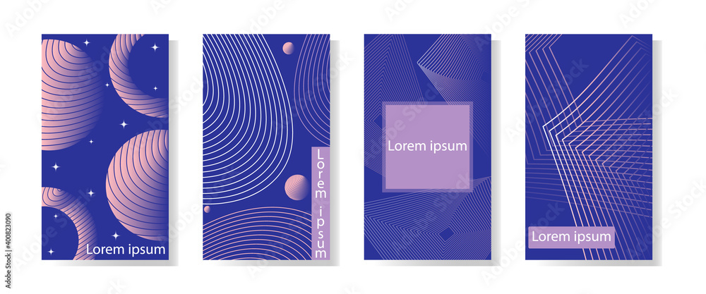 Fototapeta Four modern blue graphic backgrounds. Minimalist style in design. Delicate gradient shapes.