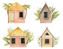 Collection Of Watercolor Beach Houses