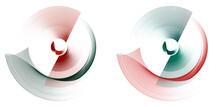 Red And Green, Wavy And Straight Blades Of An Abstract Engine Rotate On A White Background. Graphic Design Elements Set. 3d Rendering. 3d Illustration. Logo, Icon, Sign, Symbol.