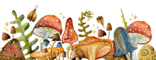 Border Toadstool Mushroom With Red Fly-agaric Mushrooms.  Watercolor Mushrooms.