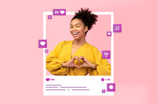 Collage With Young Black Woman Making Heart Gesture In Photo Frame, Requesting Likes In Social Media On Pink Background