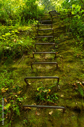 Fotografia Iron ladders in the rock face on the natural bringe trail
