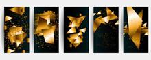 Set Of Vector Black And Gold Design Templates Set For Brochures Elegant Brochure, Card, Background, Cover. Black And Golden Marble Texture. Geometric Frame