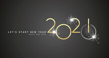 Start Of New Year 2021 Golden Shining Rounded Typography Black Background Banner And Turn On Button