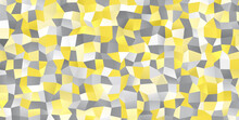 Illuminating Yellow And Ultimate Gray Random Polygonal Pattern Background. 2021 Color Of The Year. Sparkling Irregular 3D Texture. Glowing Gradient Low Poly Surface.