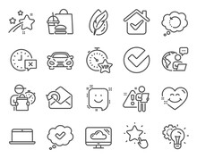 Technology Icons Set. Included Icon As Smile, Hypoallergenic Tested, Recovery Data Signs. Ranking Star, Cloud Storage, Vip Timer Symbols. Approved, Smile Face, Verify. Car, Time, Idea Gear. Vector