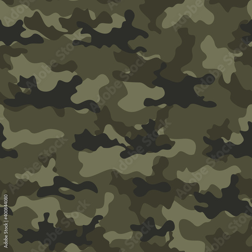 Fotografiet Camouflage army pattern khaki background. Forest style