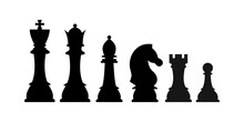 Chess Pieces Silhouette Vector Icon Set Isolated On White Background. Black Chess Figures King, Queen, Bishop, Knight, Rook, Pawn Game Disign Elements. Flat Design Simple Clip Art Illustration