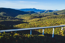 USA, West Virginia, Drone View OfÔøΩClifford Hollow Bridge In Autumn