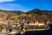 Germany, Bavaria, Tegernsee, Helicopter View Of Tegernsee Abbey And Surrounding Town In Autumn