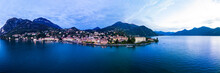 Italy, Province Of Como, Menaggio, Helicopter Panorama Of Lake Como And Coastal Town At Dawn