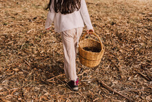 Girl With Pine Cones In Wicker Basket Walking At Park