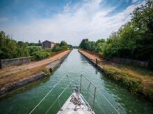 France, Aisne, Bow Of Boat Sailing Along Canal De L'Oise A L'Aisne