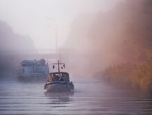 Boats On Canal Entre Champagne Et Bourgogne During Foggy Weather