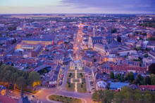 France, Nord, Cambrai, Aerial View Of City At Dusk