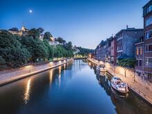Belgium, Namur Province, Namur, Motorboats Moored Along City Canal At Dusk