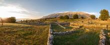 Albania, Gjirokaster County, Ruins Of Ancient Greek City Of Antigonia At Sunset