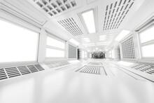 3D Illustration Of Illuminated White Space Station Corridor