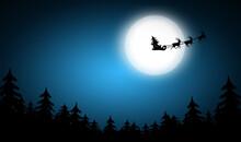 Magic Christmas Eve. Reindeers Pulling Santa's Sleigh In Sky On Full Moon Night