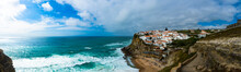 Portugal, Lisbon District,ÔøΩAzenhasÔøΩdo Mar, Panorama Of Seaside Town At Edge Of Coastal Cliffs