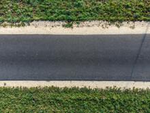 Aerial View Of Empty Asphalt Road