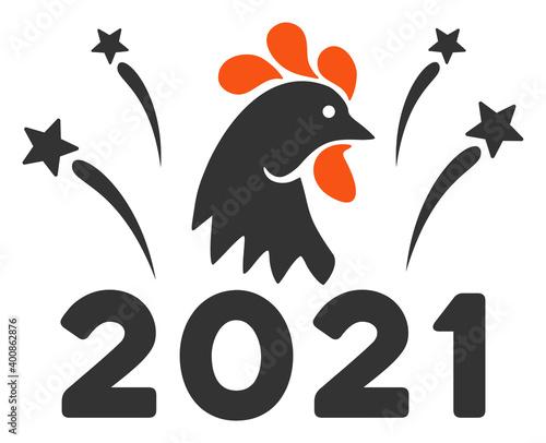 Foto Vector 2021 rooster fireworks illustration