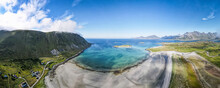 Landscape View With Sea Against Sky At Fredvang. Lofoten, Norway